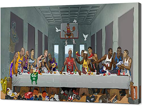 YOUHONG Modern Last Supper Basketball Player Canvas Wall Art NBA Superstar Kobe HD Prints on Canvas Wooden Frame for Living Room Home Decor(16''W x 24''H)