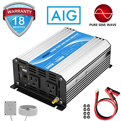 Power Inverter Pure Sine Wave 600Watt 12V DC to 110V 120V with Remote Control...