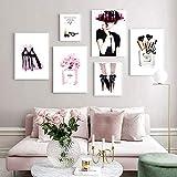 ZDFDC Perfume Maquillaje Moda Tacón Alto Vogue Poster Set Wall Art Picture Impresión en Lienzo Pintura Beauty Room Decoration