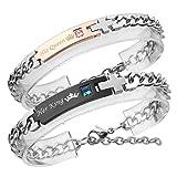 Zysta Bracelet Couple Acier Inoxydable 'Her King'+'His Queen' gravure Zircon amour...