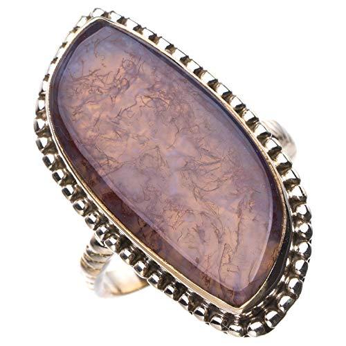 StarGems Natural Piedra de sangre de cuprita Anillo de plata de ley 925 único hecho a mano 15 1/4 E3494