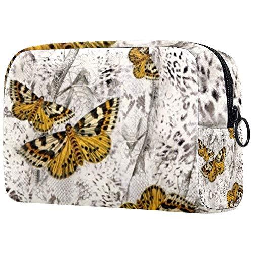 Personalisierbare Make-up-Pinsel-Tasche, tragbare Kulturtasche für Damen, Handtasche, Kosmetik, Reise-Organizer, Schmetterlingsbusch.