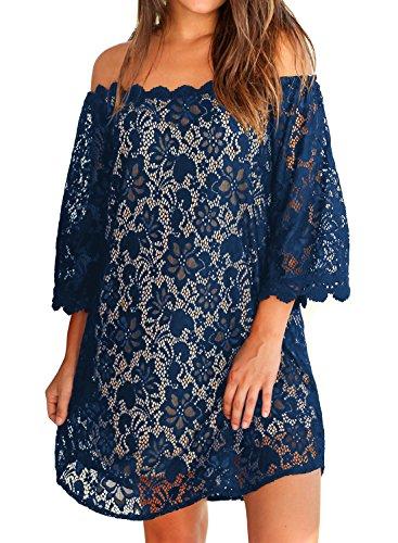 MIHOLL Women's Summer Cold Shoulder Loose Casual Mini Dress(Medium, Navy)