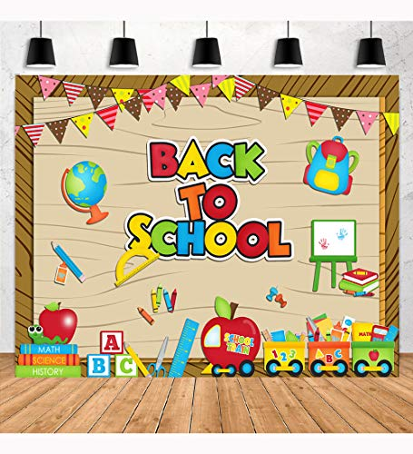 Aperturee 7x5ft Welcome Back to School Photography Backdrop Blackboard Kids Pencil Chalkboard Learning First Day of School Backgrond Children Students Props Photo Booth Studio Party Banner