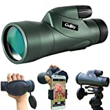 Gosky 10x50 High Definition Monocular Telescope and Quick Smartphone Holder - 2018 New Waterproof Monocular -BAK4 Prism for Wildlife Bird Watching Hunting Camping Travelling Wildlife Secenery