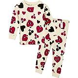 Unifriend 9分袖 9分丈 長袖 ベビ キッズ 女児 綿100% ルームウェア パジャマ ねまき 上下セット ハート -110cm