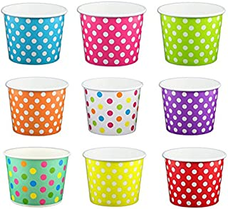 Black Cat Avenue Paper Ice Cream Cups, Polka Dot, Mix, 12 Ounce, 50 Count