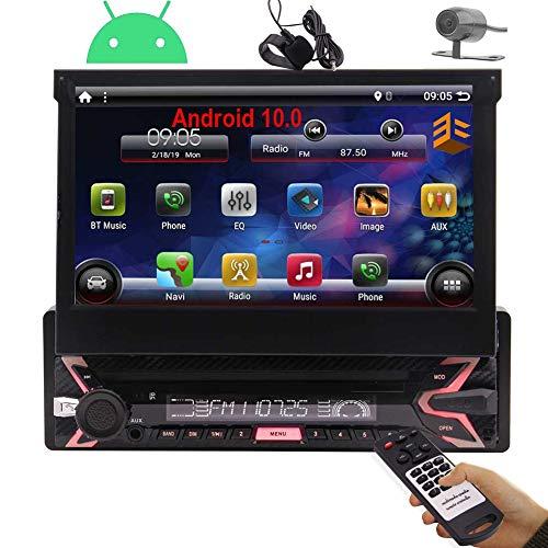 1 DIN Radio Estéreo Android 10 Individual DIN Coche de Bluetooth de 7 Pulgadas de Pantalla táctil tirón hacia Fuera 1080P Desmontable DVD GPS Unidad Principal Indash con Control del Volante y Libre