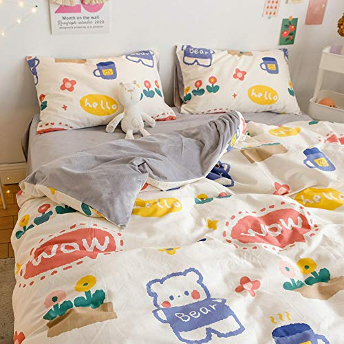 Shinon teddy bear bedding single grey,Four-piece cotton bed flannel student dormitory duvet cover single three/four-piece set-T_1.8m bed (4 pieces)
