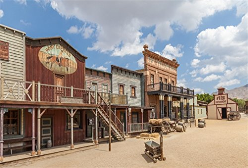 9x6ft Western Scenic Photo Backdrop Beautiful American Far West Cowboy City Town Photography Background Photo Studio Props Wallpaper for Travel Portraits