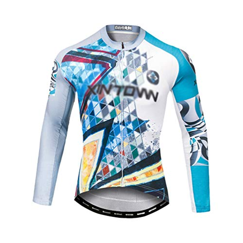 Yuanu Hombre Ropa para Bici Maillot Ciclismo Largo Camisetas Bicicleta Vestimenta Mountain Bike Manga Larga Conjunto Pantalon Camisetas MTB Culotte Bike Ropa 5# Polar Top L
