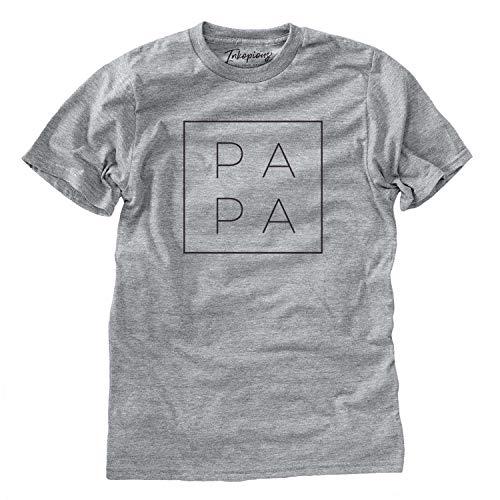 Papa Square T-Shirt Unisex Crewneck Large Grey