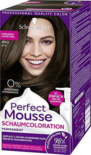 Perfect Mousse Schwarzkopf Permanente Schaumcoloration, 400 Dunkelbraun Stufe 3, 3er Pack (3 x 92,5 ml)
