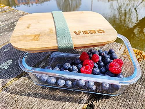 Personalisierte Brotdose Glas | Gravur | 1 Liter | Bambus Deckel | Individuell | Motiv | Name | Lunchbox