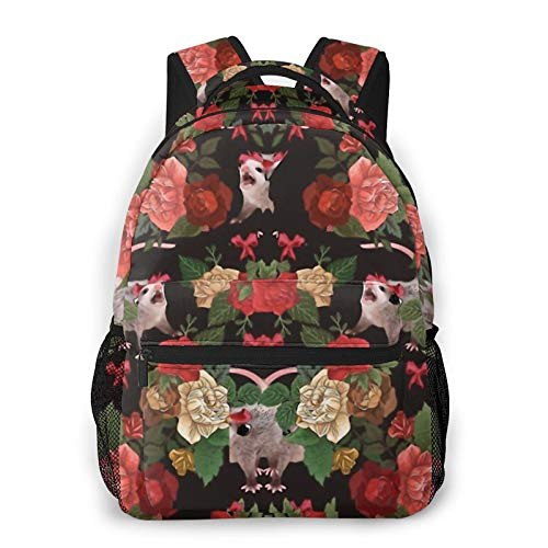 Opossum Floral Pattern Backpack Men'S And Women'S Daypack Casual Bookbag Girls And Boys Best Schoolbag