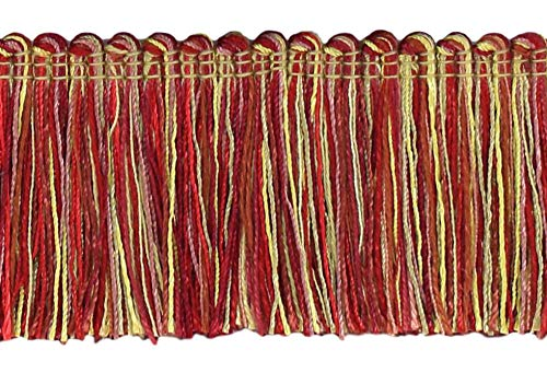 4.6 Meter Value Pack of Veranda Collection 51mm Brush Fringe Trim|Beachwood Gold, Red, Mauve |Style#: 0200VB |Color: Grandeur Flame - VNT33 (15 Ft / 5 Yards)