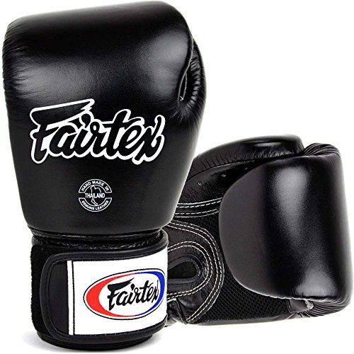 Fairtex Boxhandschuhe, BGV-1 AIR, schwarz, Boxing Gloves MMA Muay Thai Thaiboxen Size 12 Oz