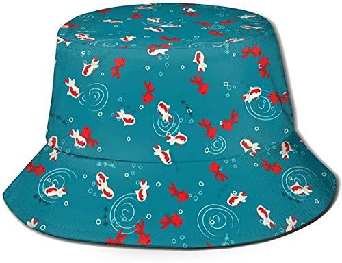 Sombrero de Cubo de Viaje con Textura de Elefantes de Estilo Indio Unisex, Gorra de Pescador de Verano, Sombrero para el Sol, Carpa Koi Blanca y roja