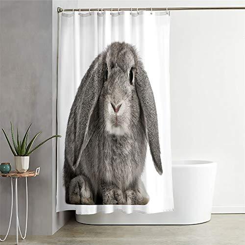 Chickwin Duschvorhang Wasserdicht Antischimmel, Duschvorhänge Polyester Waschbar Bad Vorhang mit 12 Duschvorhangringe - Tier Muster 3D Motiv Badewanne Vorhang (200x240cm,Graues Kaninchen)