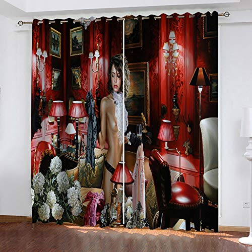 WLHRJ Cortina Opaca en Cocina el Salon dormitorios habitación Infantil 3D Impresión Digital Ojales Cortinas termica - 234x183 cm - Patrón de impresión de Belleza artística