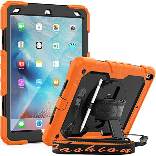 SEYMAC iPad Air 3 Case,Full Body Protection Case with Screen Protector 360 Rotating Stand [Hand Strap & Shoulder Strap] Pencil Holder Functions for iPad Air 3 2019/iPad Pro 10.5 2017-Orange