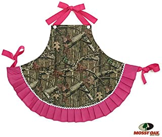 Mossy Oak Adult Camouflage Kitchen Apron with Pink Ruffles