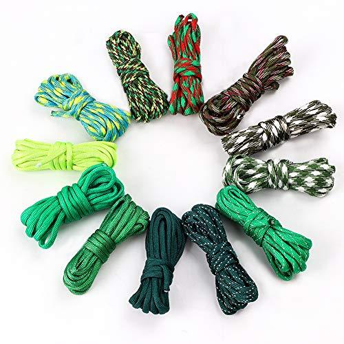 Cuerda de paracaídas de 12 colores, 33 pies, cuerda de paracaídas, 550 multifunción, tipo III, cuerda de paracaídas
