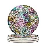 O3XEQ-8 Posavasos de cerámica con diseño de flor, de cerámica lisa, personalizable, para taza de...
