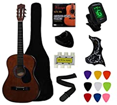 Perfect for Beginners and Students.Complete 38 Inch Acoustic Guitar Set in Coffee,Great gloss finish. Linden Binding and Full Wood Construction with Chrome Geared Tuning. The steel string Guitar is perhaps the most versatile and common Guitar type an...