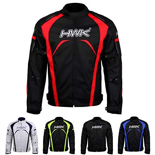Motorcycle Jacket Men's Riding HWK Textile Racing Motorbike Hi-Vis Biker CE Armored Waterproof Jackets (Red, L)