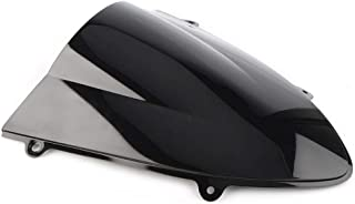 Three T Motorcycle Windshield Wind Screen Spoiler Shield Double Bubble Compatible with Kawasaki Ninja 250 250R EX250 2008-2012, Black