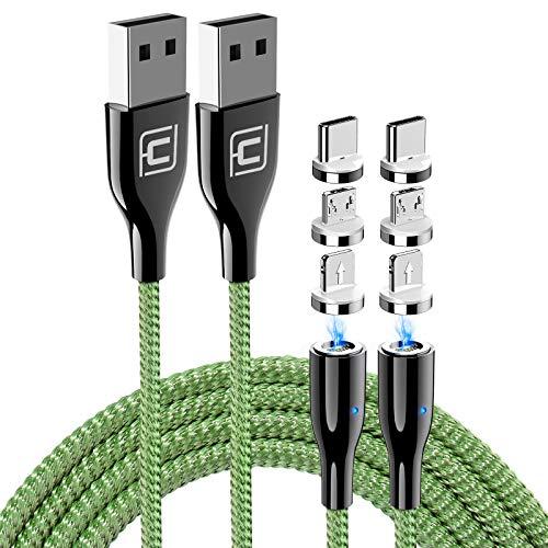 CAFELE Magnet Schnellladekabel Datenkabel USB 3 in 1 [Aktualisierte Version] - 5A Magnetisches Handy Kabel- für Allen Typ C/Lighting/Micro USB/Samsung/Huawei/iPhone Geräten