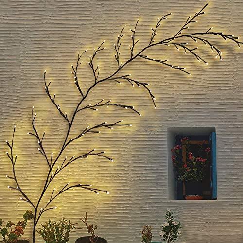 Luces solares para exteriores, 144 LED, lámpara decorativa para jardín, pared de 2,3 m (blanco cálido)