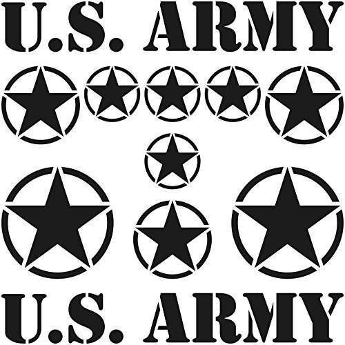 GreenIT Set Sterne Schriftzug US Army MP Jeep Tuning Aufkleber Tattoo die Cut car Decal Auto Deko Folie (schwarz matt)