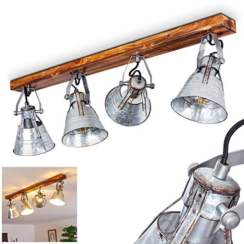 Deckenleuchte Berkeley Dark, verstellbare Deckenlampe aus Metall/Holz in Zink, 4-flammig, Lampenschirme dreh- u. schwenkbar, 4 x E27-Fassung, max. 60 Watt, Spot im Retro Design, LED geeignet
