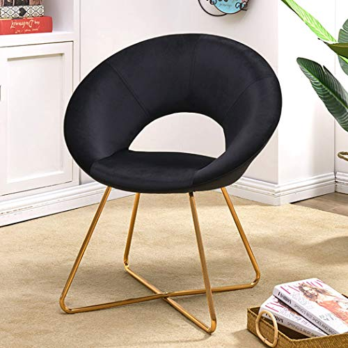 Duhome Modern Velvet Accent Chairs Upholstered Vanity Chairs Make-up Stool Home Office Guest Reception Chair Arm Leisure Chairs Dining Chair with Golden Legs Mid-Back for Living Room 1 pcs Black