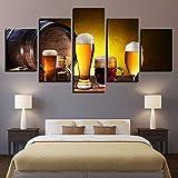 WENXIUF Cuadro sobre Lienzo 5 Partes Cerveza De Barril De Madera Clásica,Imprimir En Lienzo HD Cuadros para Dormitorios Modernos,Marco De Madera 100X55Cm Listo para Colgar