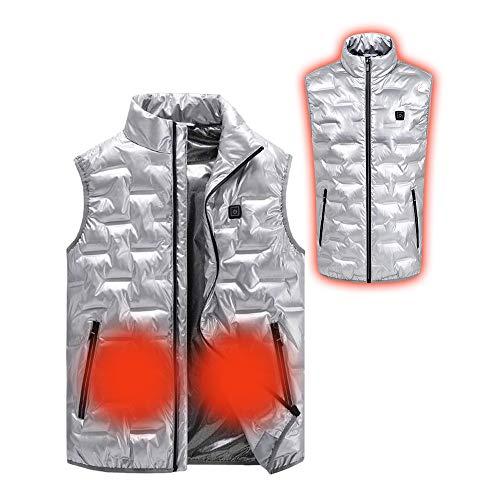 Roboraty Herren elektrisch beheizte Skiweste, waschbar 3 Temperatur einstellbar, USB-Ladeheizung Jacke Kleidung, Winter warme Weste, für Outdoor-Jagd Camping Wandern,Silver-M