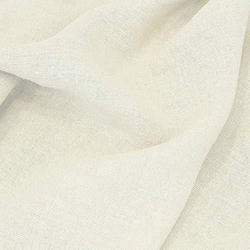TOLKO 50cm Leinen-Stoff als Meterware | blickdichter Naturstoff | für Hose Rock Bluse Kleider Gewänder | fein gewebter Dekostoff für Vorhänge Gardinen und Dekorationen | 140cm breit (Woll-Weiß)