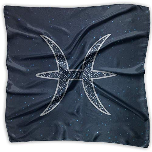 Piscis signo del zodiaco cuadrado de satén como bufanda para mujer ligera impresión bufandas para el cabello
