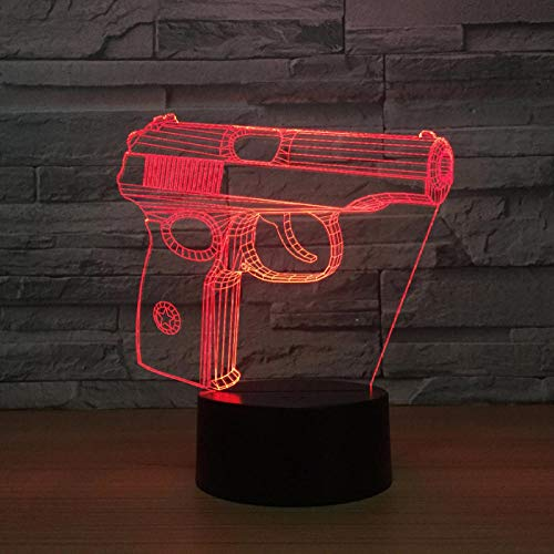 vvff Pistole 3D Nachtlicht Touch Kleiderschrank Nachttischlampe UsbGeschenk Usb Led Kinderlampe De 3D Leuchten