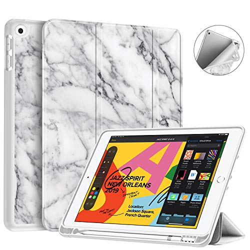 Fintie SlimShell Case for New iPad 7th Generation 10.2 Inch 2019 with Built-in Pencil Holder - Smart Stand Soft TPU Back Cover, Auto Wake/Sleep for iPad 10.2' Tablet, Marble White