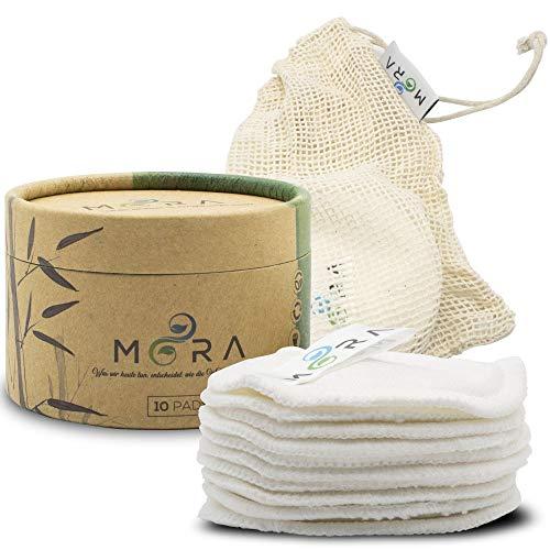 MORA – verwijderbare pads van duurzame bamboe – inclusief Box voor het opbergen - waszak van biologisch katoen - gratis eBook - zonder plastic - 10 wattenpads