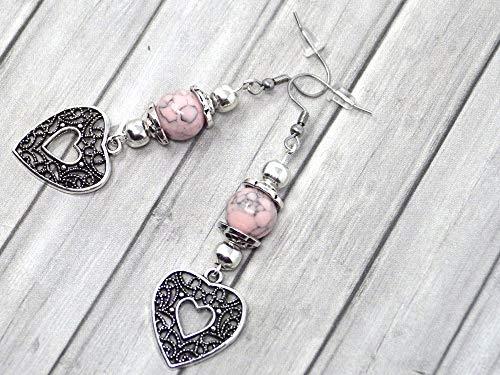 Orecchini da donna in perle turchesi ricostituite rosa e pendente in filigrana a forma di cuore