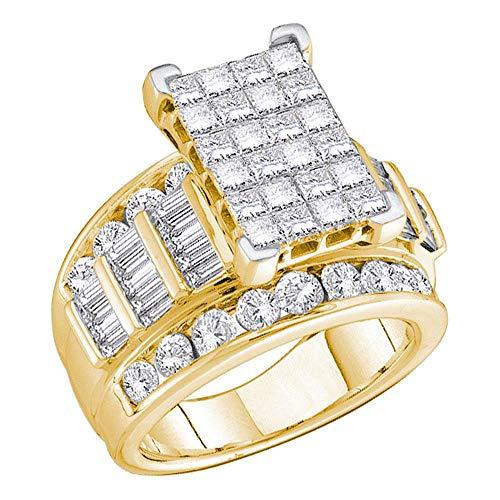 Anillo de compromiso de boda de oro amarillo de 14 quilates con diamantes de princesa para mujer, 5.00 quilates