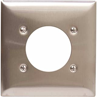 Hubbell Wiring Systems SS703 tradeSELECT Satin Stainless Steel Standard Wall Plate with Surface Mount, 2-Gang, 2.15