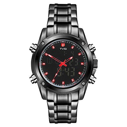 Men's Digital Sports Watch TVG Military Watches Outdoor Electronic EL Back Light Display Alarm Stopwatch Waterproof Watch …
