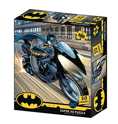 DC Comic- Batman-Batcycle Puzzle de Efecto 3D, Multicolor (Prime BM32519)