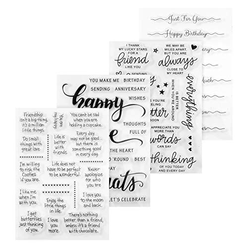 KINAKE 4 Sheets Words Clear Stamp Silicone Birthday Greeting Stamps Cards with Sentiments Greeting Words Crafts Stamps Acrylic Stamp Blocks Tools for Card Making Decor DIY Scrapbooking