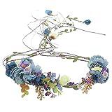 Bohême Floral Bandeaux Guirlande Casque - Nouvelle Mode Cheveux Couronne Simulation Arbre Vigne Fleur Couronne De Mariage Photographie Décoration (Bleu)